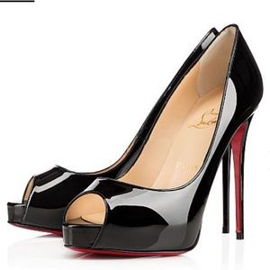 Christian Louboutin Black Peep Patent Heels 36